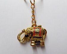 Thailand Lucky Elephant Keychain Hidden Pill Box Locket GOLD Color