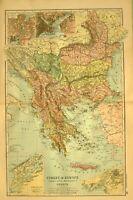 1894 Carte Turquie en Europe Roumanie Notre Site Web Montenegro Athens