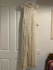 Handmade Vintage Victorian Baby Lace Christening Dress Silk Lined 0 - 3 Months
