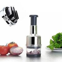 Kitchen Stainless Vegetable Food Garlic Onion Slicer Pressing Chopper Cutter