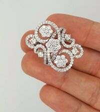 ESTATE 14K WHITE GOLD ROUND DIAMOND FLOWER COCKTAIL DESIGNER LADIES RING Sz 7