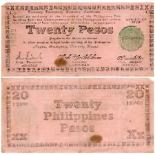 1944 PHILIPPINES Negros Emergency Note 20 Pesos S679 PINK Paper WW2 24k Printed