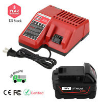 US Stock New for M18 Charger and 1X 4.0Ah Lithium Ion for Milwaukee 18v Battery