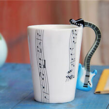 Guitar Handle Music Note Pattern Coffee Mug Whtie Porcelain Ceramic Cup Gift