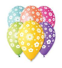 "Balloon Flower Print 30cm-12"" Assorted Colours 10pcs High Quality Air / Helium"
