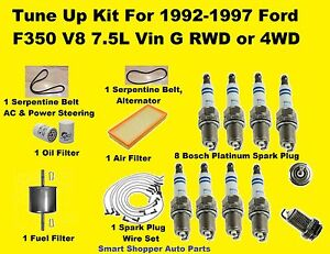 92-97 Ford F350 V8 7.5L Tune Up Kit Spark Plug Wire Set Oil Air Fue Filter, Belt