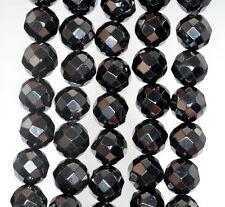 10MM BLACK JET GEMSTONE FACETED ROUND LOOSE BEADS 16""