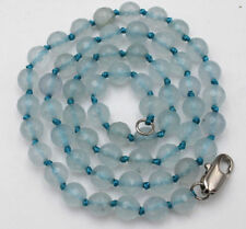 24Inch 6mm Natural Faceted Aquamarine Gemstone Beads Necklace JN1940