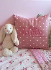 PERSONALISED Embroidered Cushion Cover Gift Clarke & Clarke Pink Dotty Spot Girl