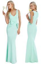 Goddess Long Mint Gathered Drape Bow Sleeveless Evening Prom Party Maxi Dress