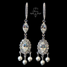Earrings 925 Sterling Silver Bridal Swarovski Crystal Elements Pearl Chandelier