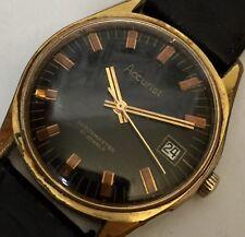 VINTAGE ACCURIST SHOCKMASTER - 21 JEWELS WORKING Wristwatch Rare Black Dial