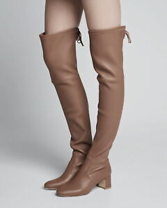 NEW Stuart Weitzman Zuzanna Over the Knee Boots, Taupe Leather, 10M, MSRP $795