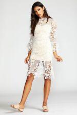 Free People Floral Crochet Lace La Spezia White Dress Midi Bridal Wedding Sz L