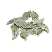 10Pcs Antique Silver Leaf Type Angel Wing Charms Pendants DIY Jewelry Making