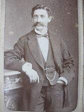 Photographie ancienne homme élégant 1900 CDV Rouen photographe Witz costume