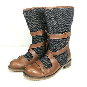Anthropologie Size 6b Schuler Sons Wound Barra Boots Woven Tweed Brown Leather