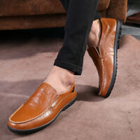 Men Driving Casual Boat Leather Shoes Moccasins Comfy Slip On Loafers Flat Shoes
