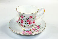 Vintage Royal Dover Bone China England Tea Cup Saucer Pink Rose Flowers MINT