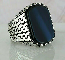 Turkish Ottoman Black Onyx Gemstone Solid 925 Sterling Silver Mens Ring