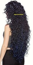 LONG LAYERED SPIRAL CURLS BLACK BLUE MIX FULL LACE FRONT WIG HEAT OK HAIR PIECE