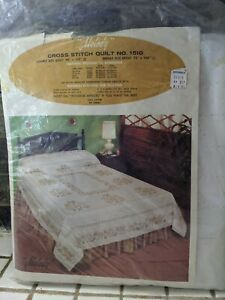 Vintage TOBIN Progress Cross Stitch Quilt Top Melody No 1510 Double Full Size