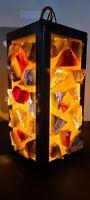 Mid-Century Pendant Chunk Slag Glass Hanging Lamp ~ Swag Lamp