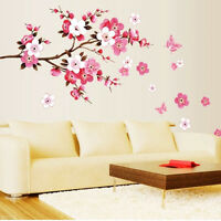 Pink Flowers Removable Vinyl Decal Wall Sticker Mural DIY Art Room Home Decor BH