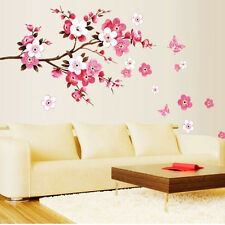 Pink Flowers Removable Vinyl Decal Wall Sticker Mural DIY Art Room Home Decor TB