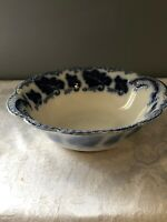 "VERY PRETTY FLOW BLUE JOHNSOM BROS. ""NORMANDY"" LARGE SALAD BOWL (10""DIAMETER)"