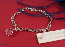JON RICHARD. SWAROVSKI PINK CAGED CRYSTAL SILVER CHARM BRACELET TICKET PRICE £15