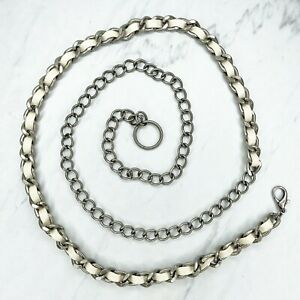 Silver Tone Vegan Faux Leather Woven Belly Body Chain Link Belt One Size OS