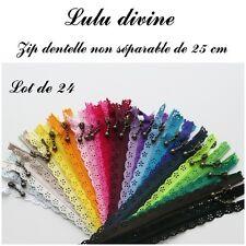 Lot de 24 Zips/ Fermetures éclair dentelle non séparable de 25 cm, Couleur Mix