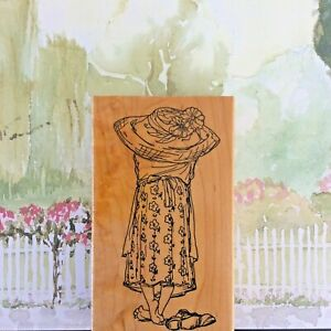 Art Impressions Back of Nellie Wood Mounted Rubber Stamp Barefoot Woman Scene