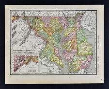 1911 McNally Map - Maryland Delaware Washington Dc Annapolis Baltimore Dover