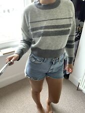 TOPSHOP GREY STRIPE KNIT CROP JUMPER SIZE 10 Crew Neck Long Sleeve Top
