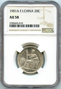 Indochine 20 Cent. 1901 A Paris NGC AU 58