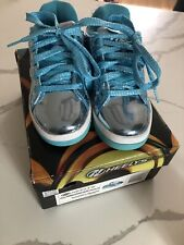 Heelys Split Chrome Skate Shoes Tennis Sneakers W/ Wheels Blue Metallic Girls 1
