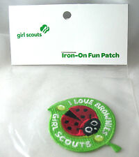 Patch I LOVE BROWNIE GIRL SCOUTS, NEW Iron-On CUTE Ladybug CHRISTMAS GIFT