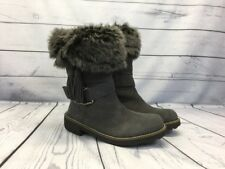 NEW Earth Women's Gray Suede Leather Winter Boots Faux Fur Buckle Tassel Size 6B