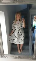 WOMENS VTG RETRO WHITE ABSTRACT FLORAL SUMMER 90'S MAXI FLOWY TEA DRESS UK M