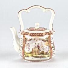 "European Antique Style Burgundy Porcelain Teapot British Settlers Mark 6"" 15cm"
