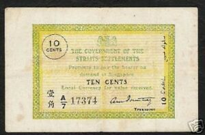 STRAITS SETTLEMENTS 10 CENTS P6 C 1919 RARE XF MALAYSIA SINGAPORE CURRENCY NOTE