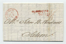 1828 Boston Quarantine handstamp stamplesss ship letter from Italy [45.264]