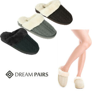 DREAM PAIRS Womens Warm Fluffy Faux Fur lined Slippers Knit Mule Comfy Slippers