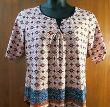 Per Seption PXL Elbow Sleeve Polyester Ivory Geometric Casual Scoop Neck Top