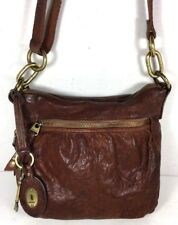 Fossil Slim Brown Soft Leather Crossbody Shoulder Bag – Distressed/Well Worn