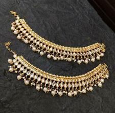 Indian Bollywood Gold Plated Kundan Pearl Payal Anklet Women Wedding Jewelry Set