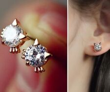 18k Rose Gold GP Austrian Crystal Zircon Cat Lady Bridal Earrings Studs