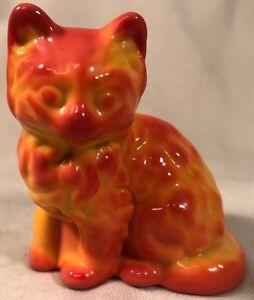 Kitten - Pumpkin Marble Slag Glass - Fluffy Cat - Mosser USA